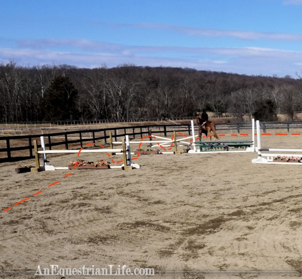 horse jumping grid single oxer