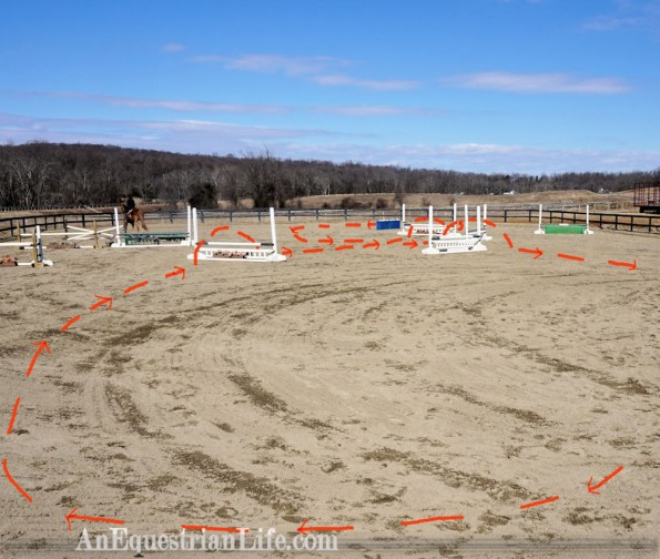 horse jumping course diagonal line