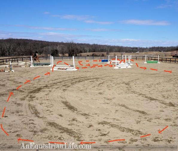 horse jumping course diagonal line
