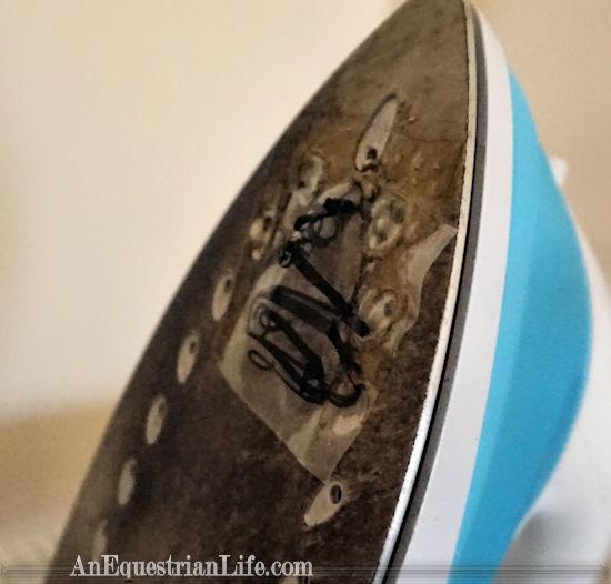 monogram stuck to iron