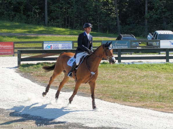 Phillip Dutton on Fernhill Fugitive comes cantering from warmup all the way into the arena. Nice entrance!