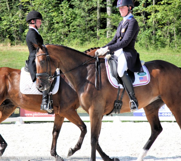 And yet they still managed to be on top of each other! Lauren Kieffer (USA) on Meadowbrook's Scarlett in the front, and Waylon Roberts (CAN) on Kelecyn Cognac in the back.