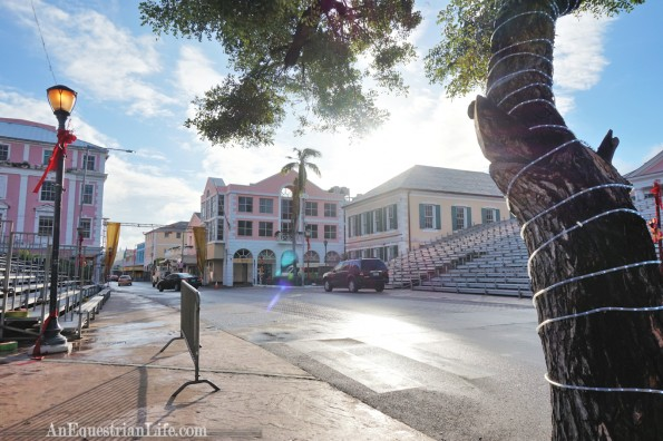 One of the main streets. They were setting up for the Junkanoo Carnival.