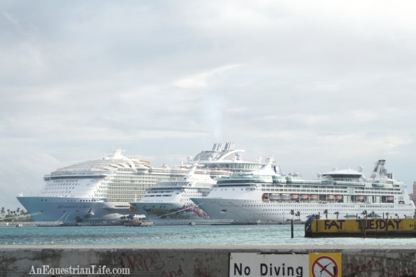 Lined up with other cruise ships. It's the big one, on the left.